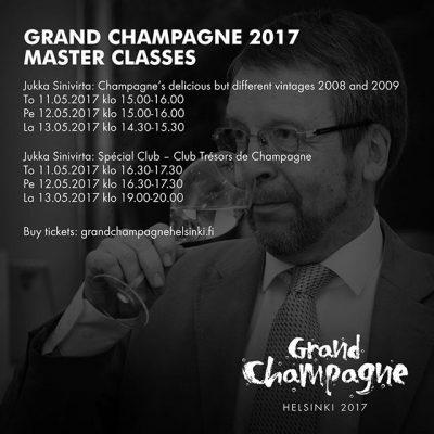 Erinomaisen suositut Jukka Sinivirran samppanja Master Classit Grand Champagne Helsinki tapahtumassa toukokuussa kaikki nyt avattu, osassa enää muutamia paikkoja jäljellä. Tutustu Www.grandchampagnehelsinki.fi ja hanki lippusi!